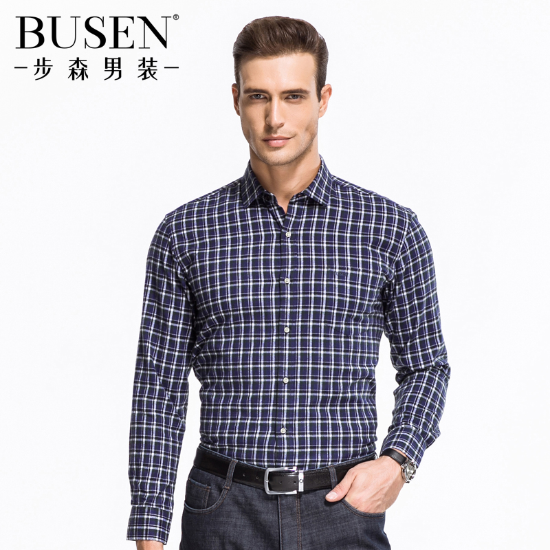 Busen/busen men brushed cotton long sleeve plaid fashion casual business shirt male occupation