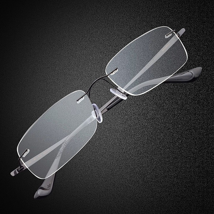 Business titanium glasses frame glasses chromotropic ultralight rimless glasses frame myopia men eye glasses finished optical glasses