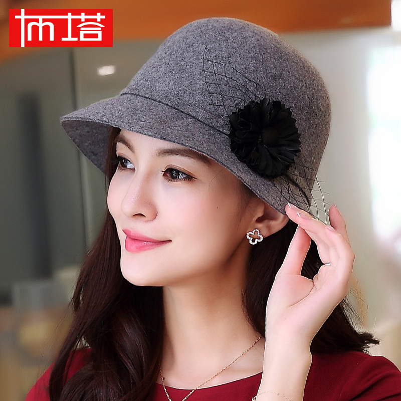 Buta autumn and winter wool fedora hat wool hat wool hat female flowers in autumn korean version of the elegant fashion fedora hat