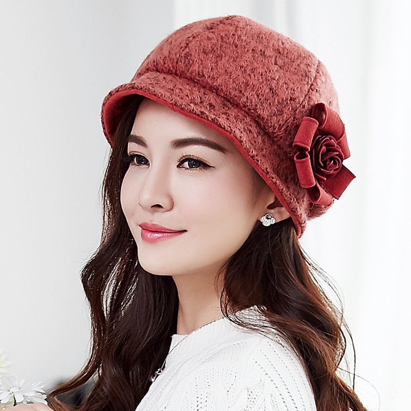 Buta new autumn and winter wool hat female big hat warm hat winter hat female autumn and winter plus thick velvet flowers
