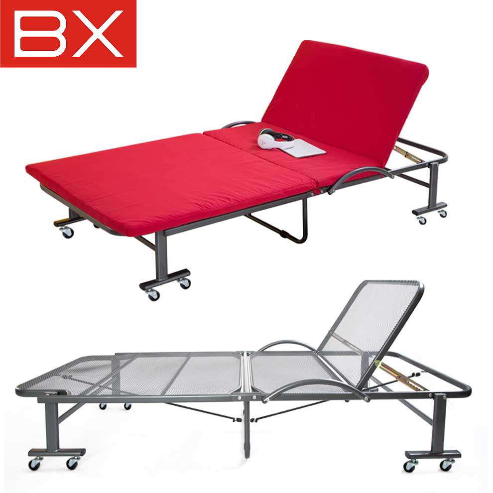 Bx steel grid double folding bed linen person office nap dual hot and cold free installation siesta bed sponge