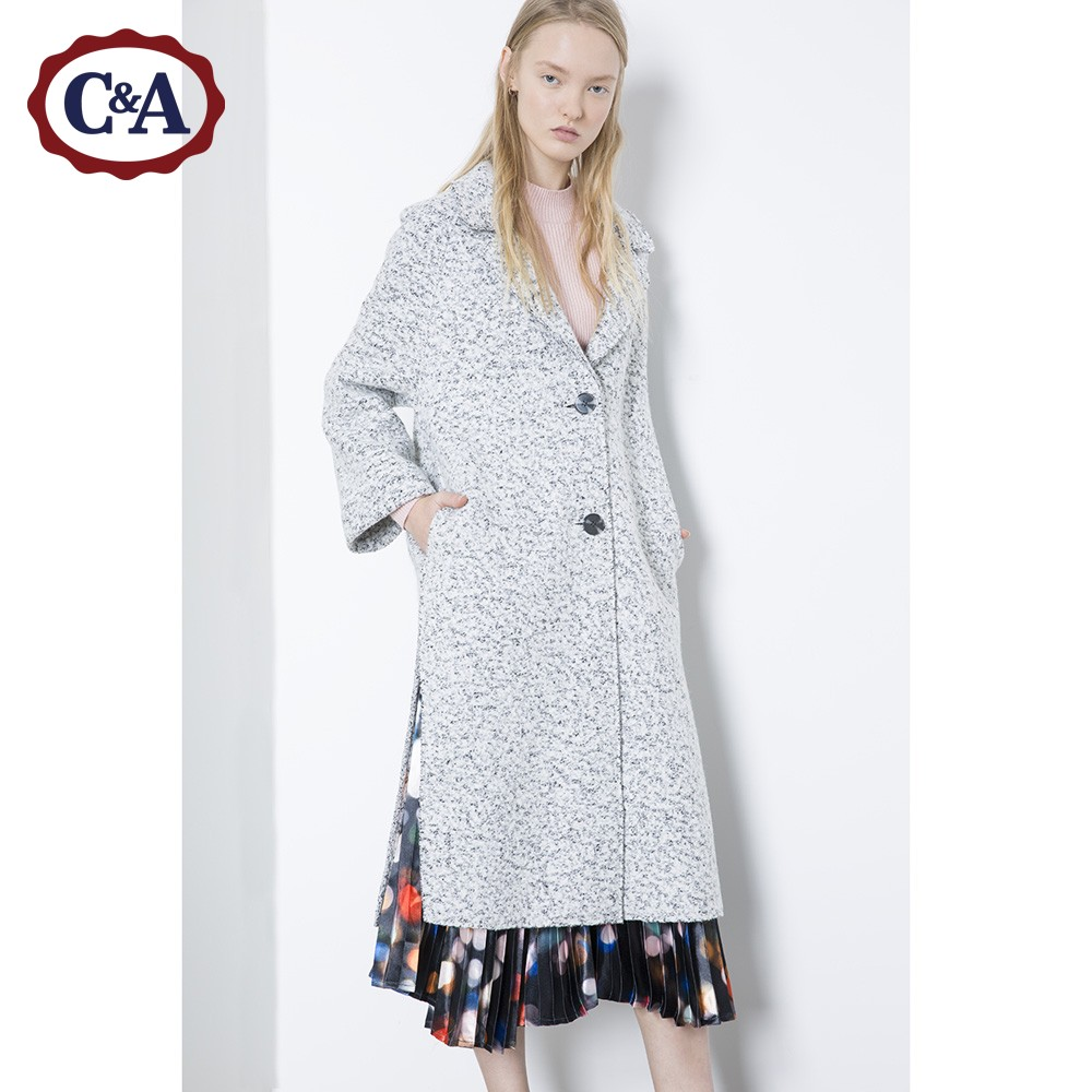 C & a blending silhouette woolen coat containing wool coat female 2016 autumn and winter side slit CA200183425