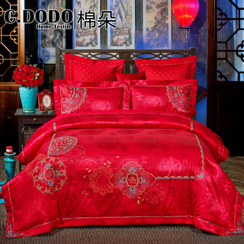 C. dodo/cotton flower beautifully embroidered wedding liu jiantao big red wedding double sets of wedding bed Supplies