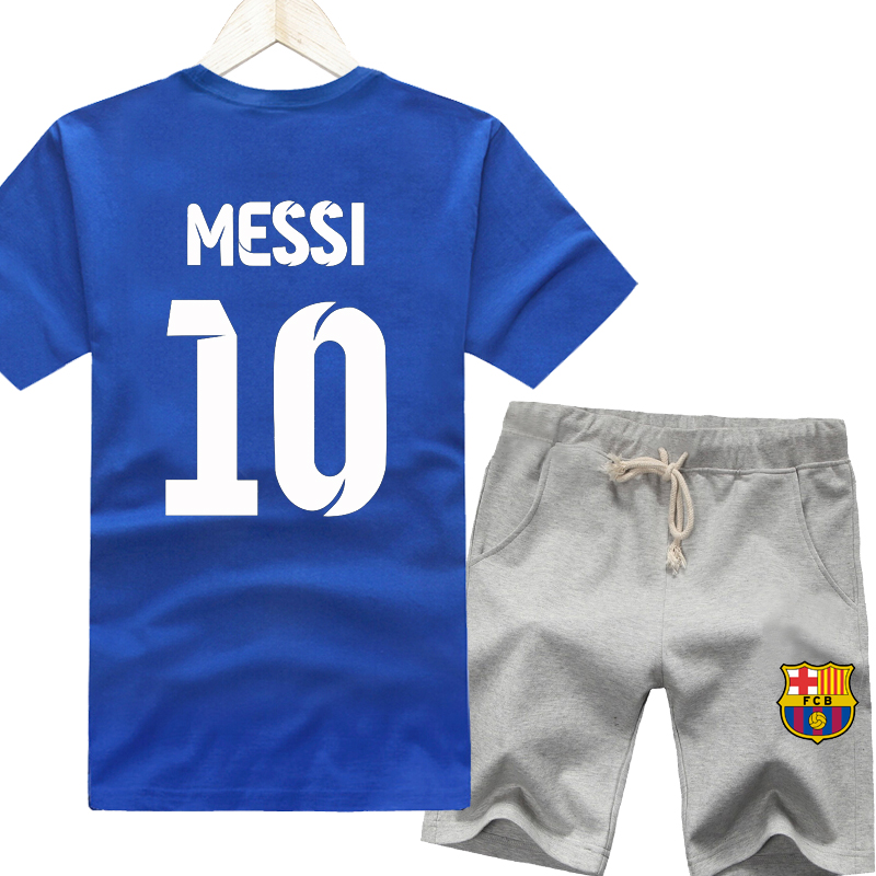 C ronaldo real madrid in the champions league barcelona messi soccer jersey no. 10 summer men's t-shirt large size five pants sports suit