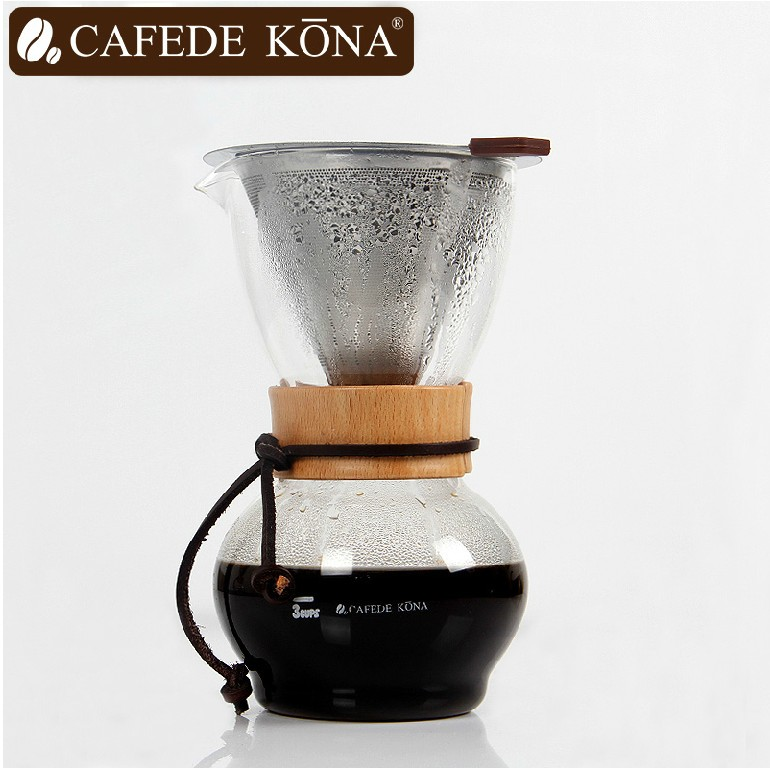 Cafede kona glass coffee pot hand punch drip home trickling brew pot free paper maker share