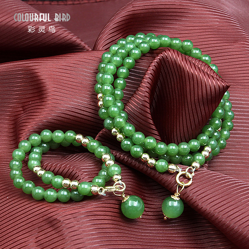Cai ling birds genuine natural a cargo jade and nephrite jade jasper necklace bracelet necklace free shipping k gold wada