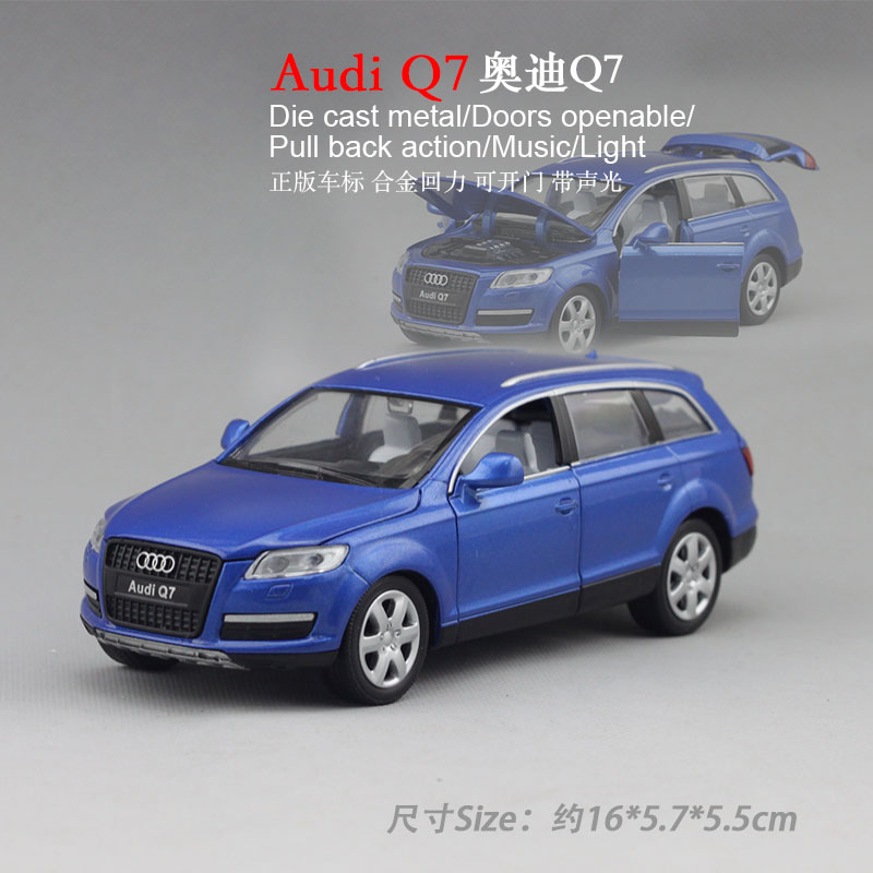 Caipo sound and light alloy pull back car with car standard audi q7 suv suv model children's toys rail car