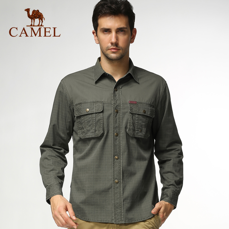 Camel outdoor leisure clothing new men's long sleeve cotton shirt lapel casual men's shirts genuine 3s13061