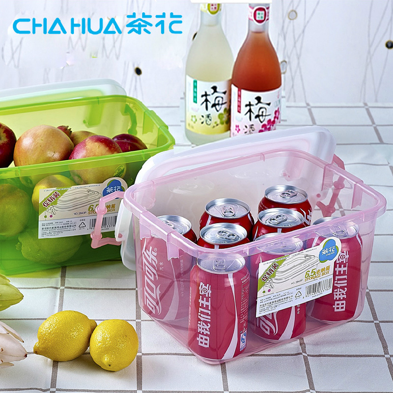 Camellia 6.5l trumpet thick transparent plastic storage box storage box with lid handle storage material sorting box 2843 p