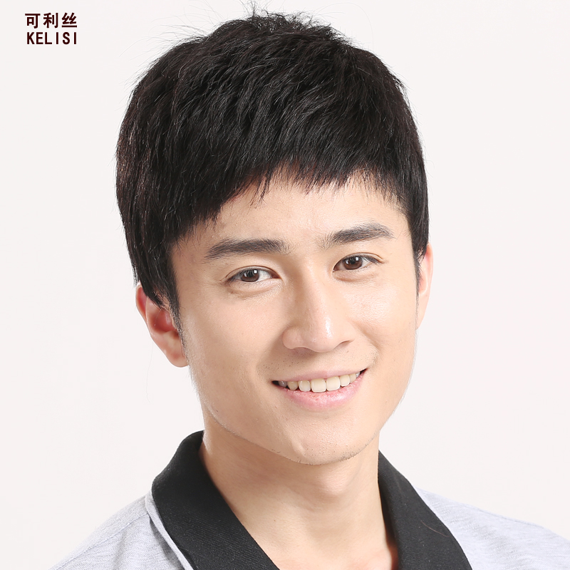 Can liss middle-aged male wig wig handsome realistic short hair male hand woven breathable youth men's real hair l198