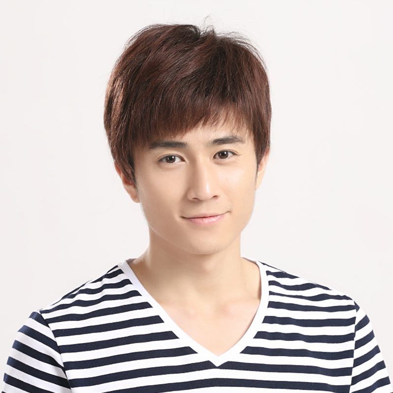 Can liss real hair wig lifelike handsome man with short hair male hair hand knit middle-aged men's real hair wigs l105
