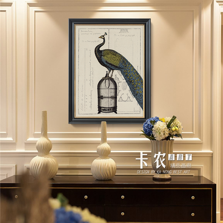 Canon wood gilded box pure american decorative painting the living room entrance mural paintings framed painting peacock