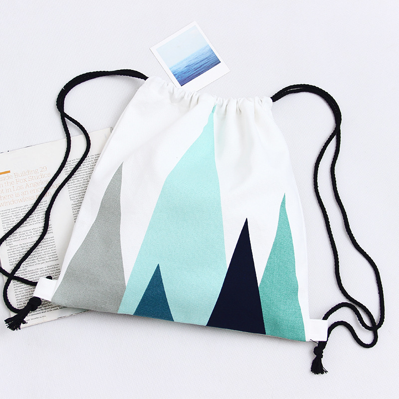Canvas travel bag drawstring pouch beam port drawstring bag small fresh shoulder bag handbag college wind backpack