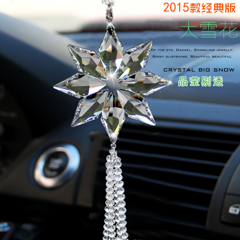 Car hanging ornaments for security and peace pendant car car supplies crystal snowflake pendant car interior rearview mirror ornaments supplies