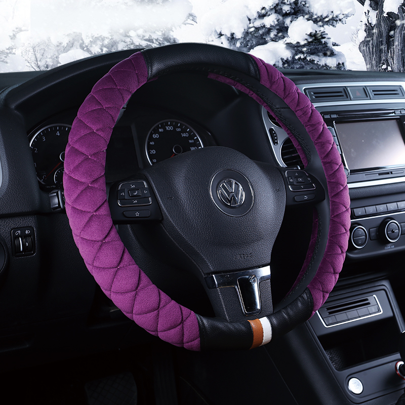 Car steering wheel cover steering wheel cover winter short plush steering wheel cover female hair to cover the car to cover winter