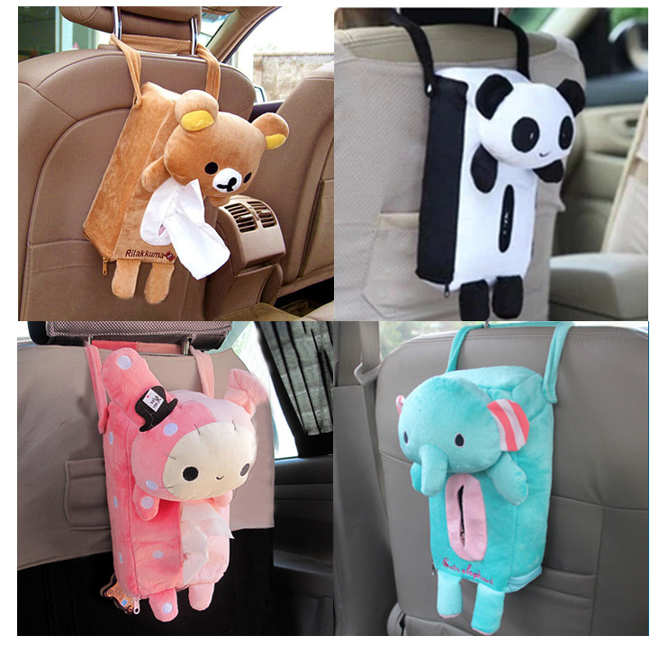 Car with a tissue box tissue pumping car cartoon cute creative car pumping tray hanging car supplies jewelry box sets