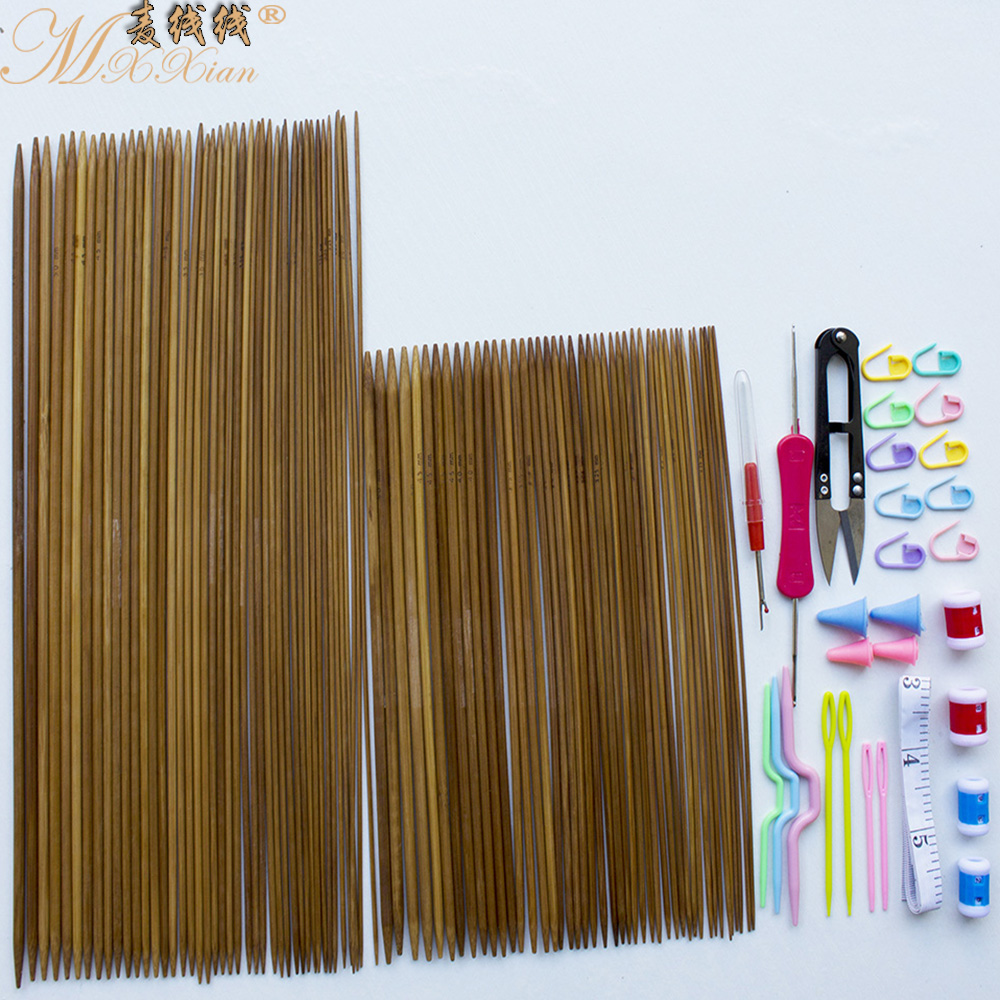 Carbonized bamboo needle sweater knitting tool kit wheat line line coarse knitting crochet auxiliary tools bamboo needle kit