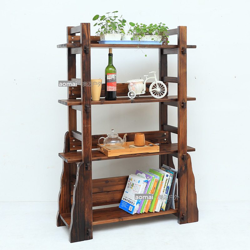 Carbonized wood preservative retro archaized contadino multilayer wood shelves display rack shelf to do the old antique