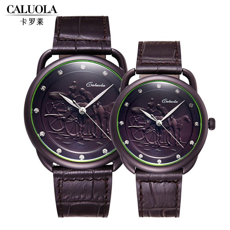 Carolina genuine leather belt male watch business watch minimalist female form quartz watch couple watch one pair of fashion embossed