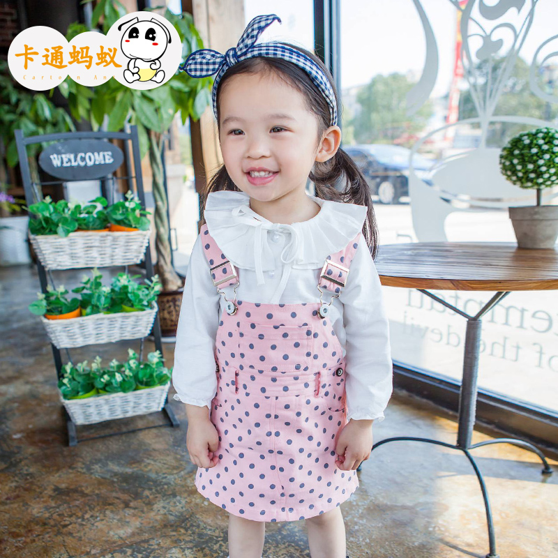 Cartoon ant kids girls dress 2016 new spring and summer baby boy baby girls strap dress children skirts
