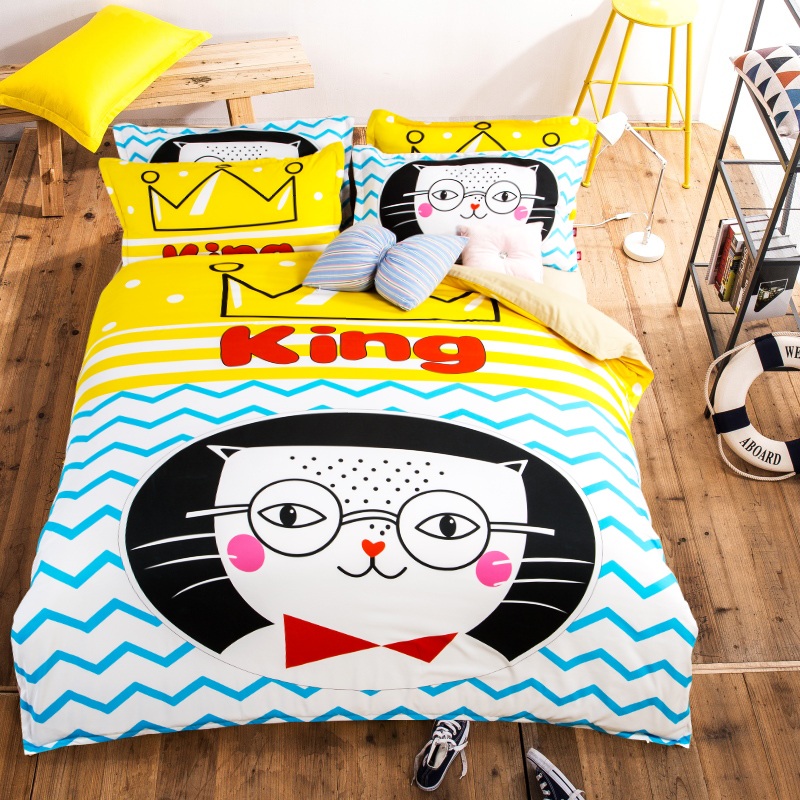 Cartoon bedding a family of four sanding sheets thick quilt students children three sets of 1.2 m princess bed li style