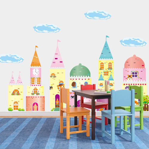Cartoon children's room nursery classroom layout removable wall stickers living room bedroom background wall stickers fairy tale castle