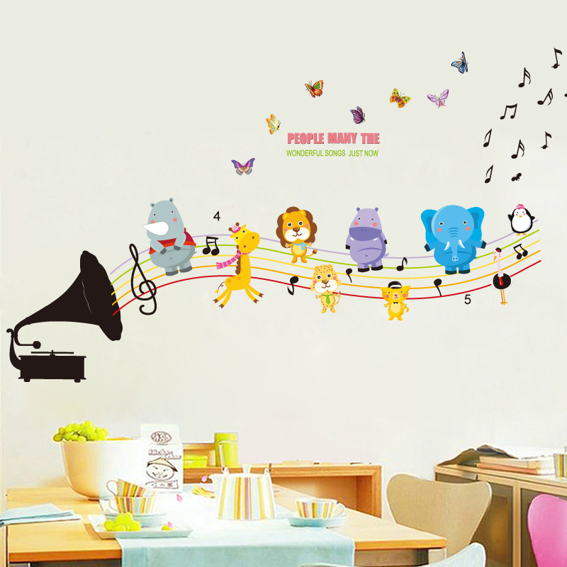 Cartoon creative children's baby klimts animal wall stickers wallpaper adhesive stickers living room bedroom children's room can be removed