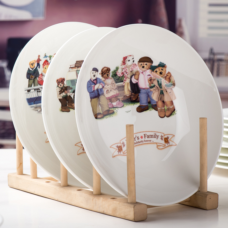 Cartoon cute creative home plate dish 8 inch round korean flat plate ceramic dish dish dish dish small plates
