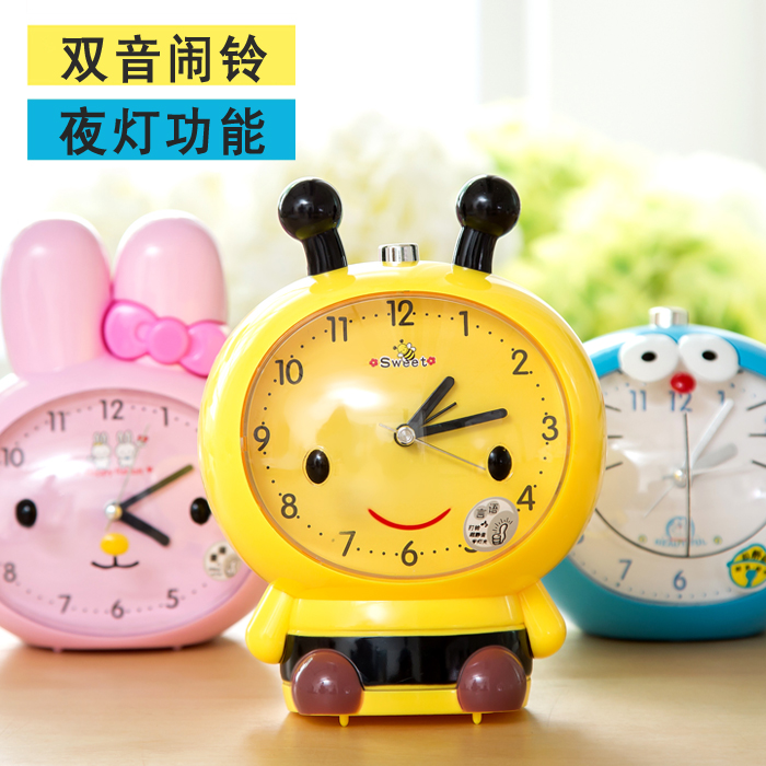 Cartoon fashion student children bedside clock creative mute luminous lazy little alarm clock electronic clock cute personality
