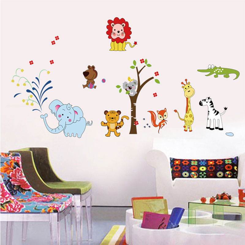 Cartoon removable wall stickers bedroom living room children's room furnished nursery wall stickers animal world