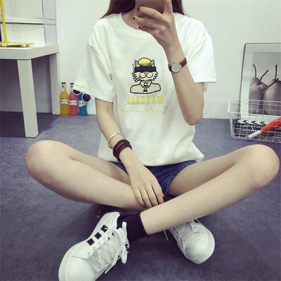 Cartoon stickers cloth embroidery letters short sleeve t-shirt blouses 2016 summer loose t-shirt korean student simple wave of states