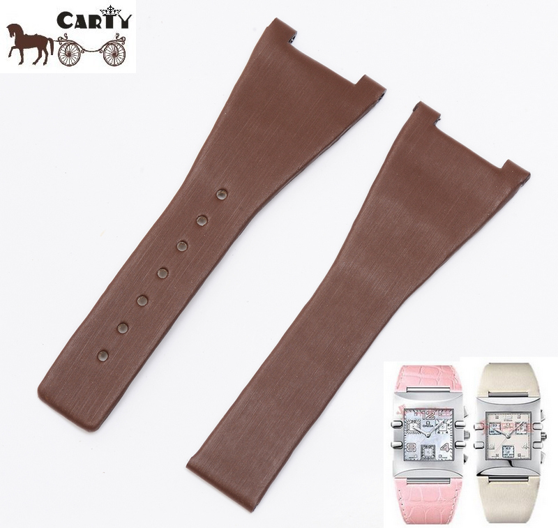 Carty applicable silk strap wristwatch strap strap omega constellation concave brown square section 28