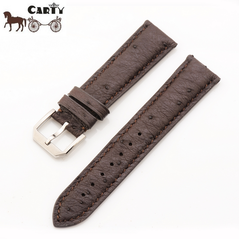 Carty ostrich leather strap leather bracelet suitable for tens of thousands mark generic paragraph 16 buckle strap 20mm