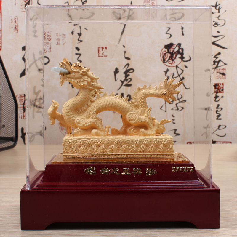 Cashmere alluvial gold ornaments zodiac dragon dragon and phoenix crafts home decorations birthday he shouli product