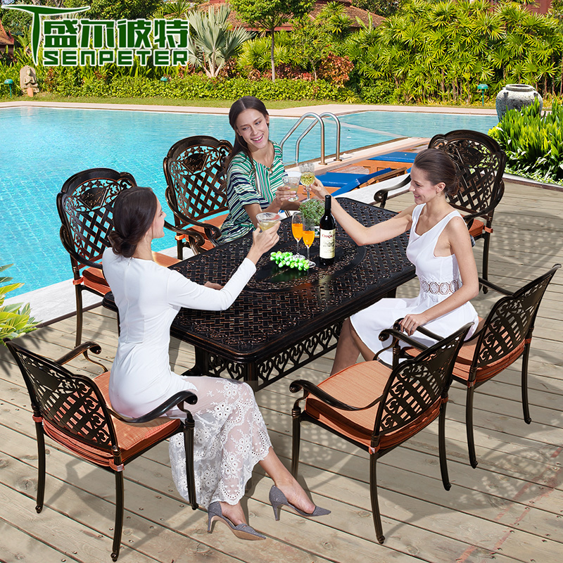 Cast aluminum tables and chairs outdoor furniture outdoor furniture outdoor terrace courtyard garden chairs indoor leisure furniture bar chairs