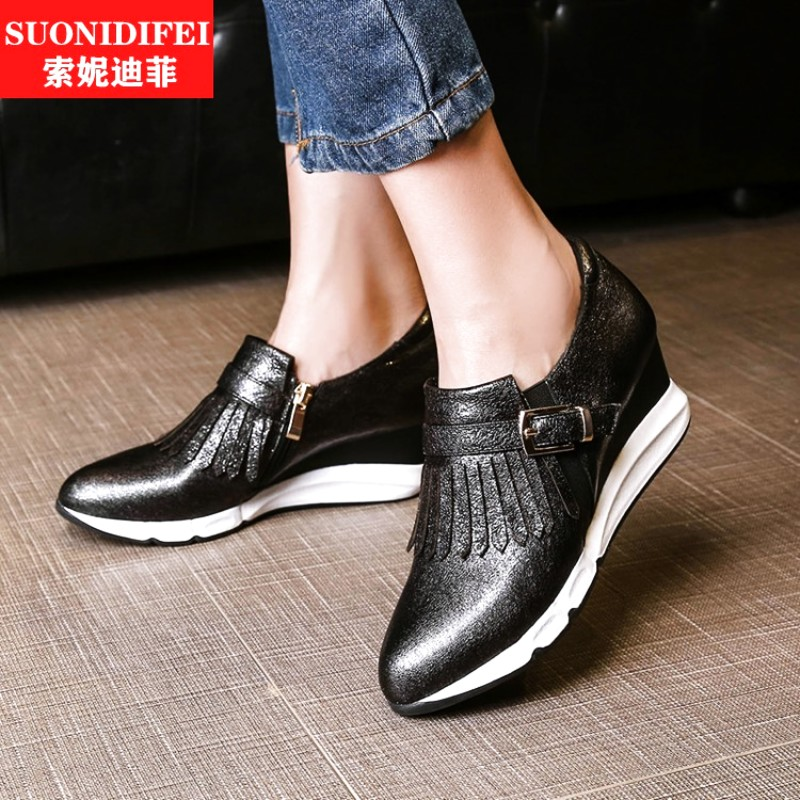 Casual black female european leg pointed silver tide sets foot deep mouth shoes wedges heels shoes