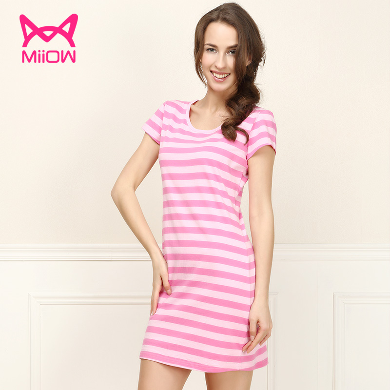 Get Quotations  C2 B7 Cat People Summer Cotton Pajamas Sexy Nightgown Tracksuit Ms Round Neck Short Sleeve Striped Skirt