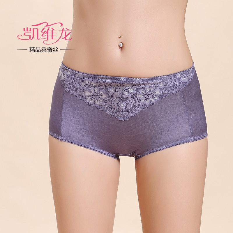 Cavey long genuine 100% silk female silk fabric lace short pants in the waist briefs