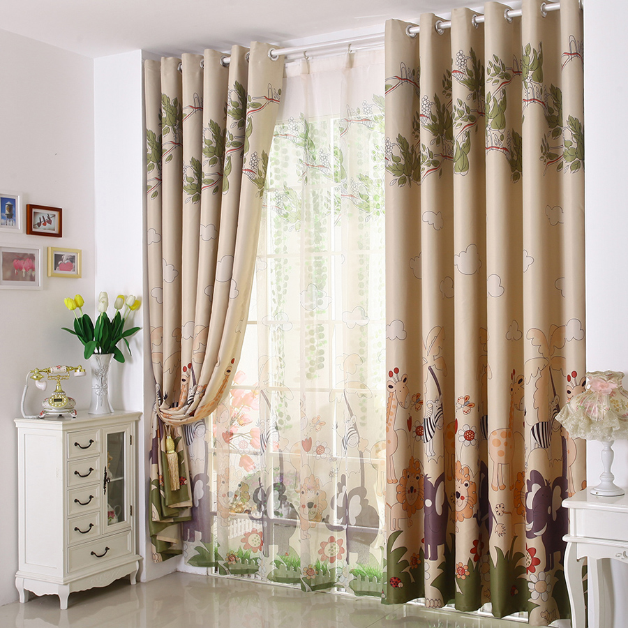 [Cd] cartoon children's room boys and girls bedroom curtains floating custom finished the entire shade cloth-forest park