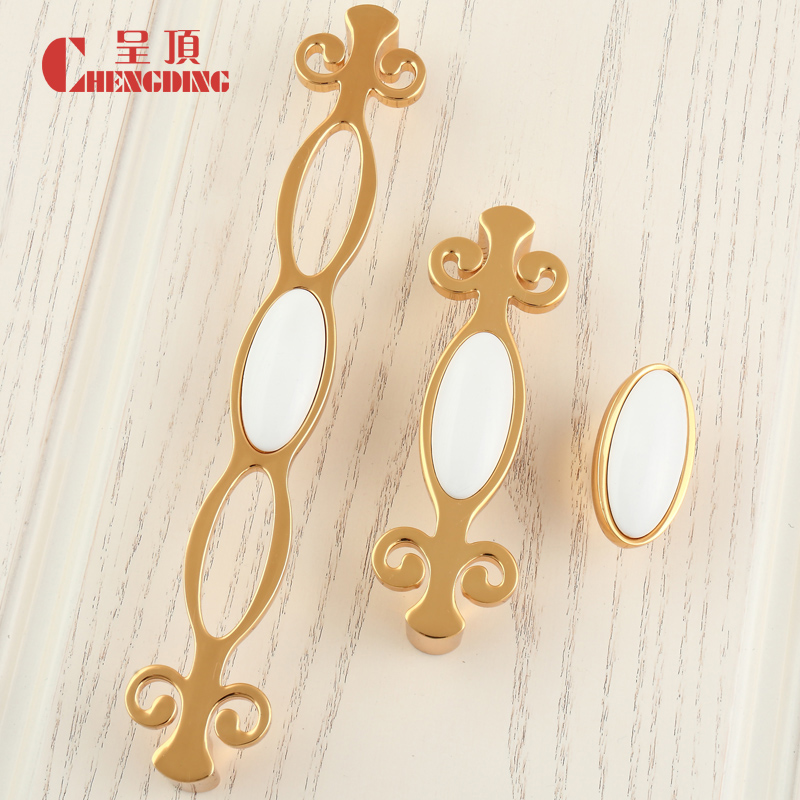 Cd super generation golden ceramic handle european american wardrobe cabinet door handle drawer handles hole handle cabinet handle small