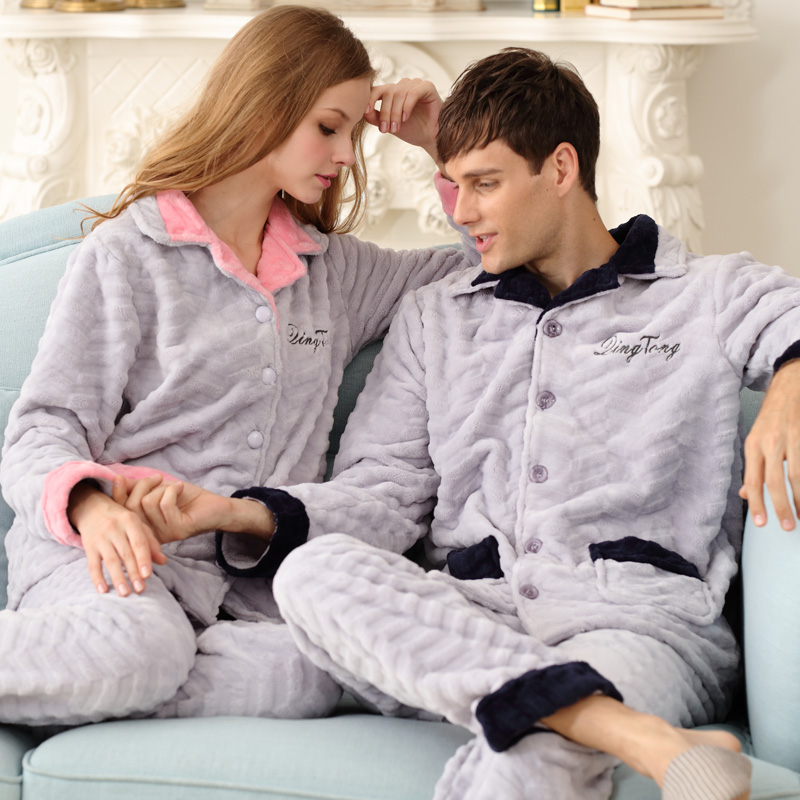 Celebrate with autumn and winter plus thick velvet pajamas flannel pajamas couple of men and women long sleeve pajamas coral velvet suit tracksuit korean