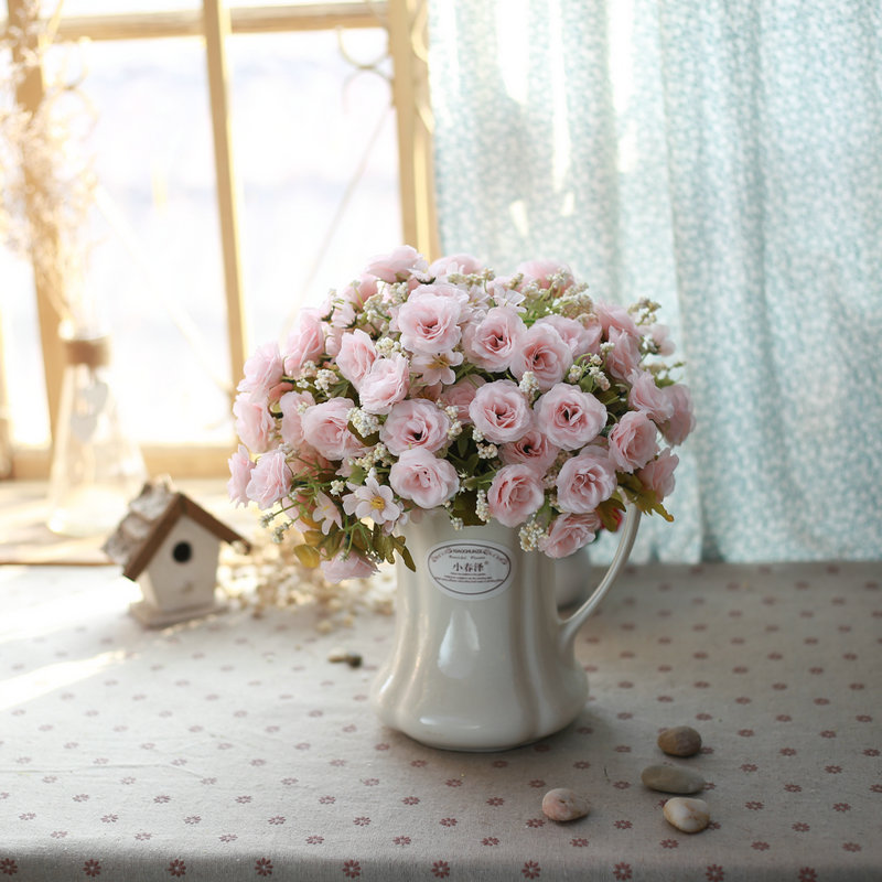 Ceramic jug vase garden home decoration artificial flowers floral suit table flowers artificial flowers decorate the living room