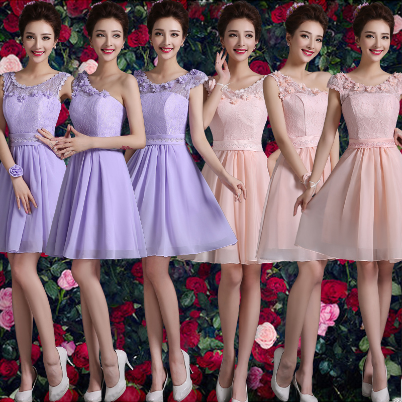 Champagne bridesmaid dress 2016 new summer dress bridesmaid dress sister group bridesmaid dress short paragraph sister skirt dress evening dress long section