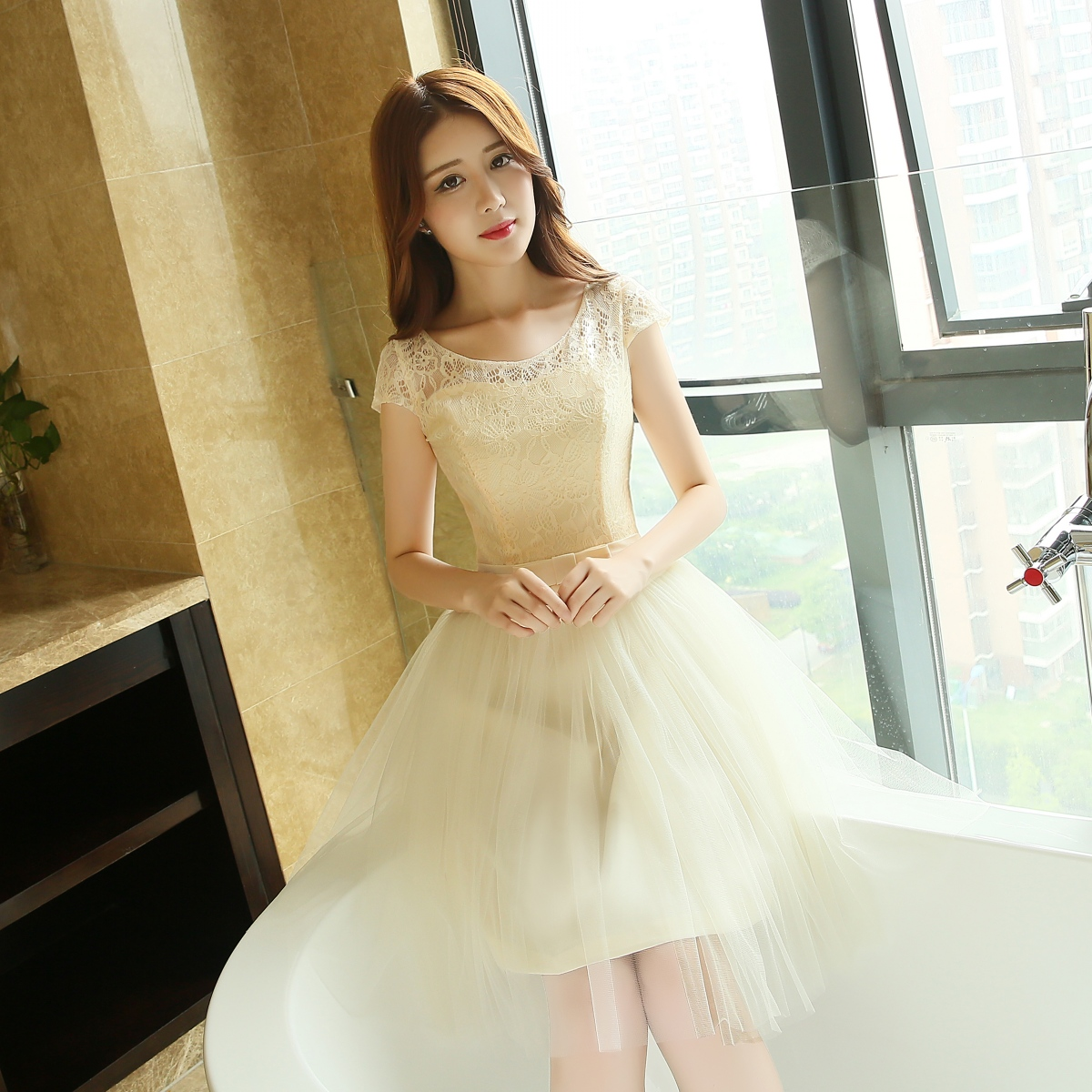 Champagne bridesmaid dress short paragraph 2016 summer new korean version was thin dress graduation dress with mother mission sisters dress