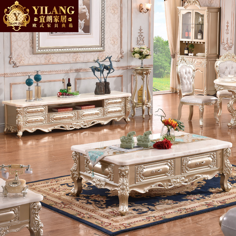 Champagne gold european solid wood furniture natural marble coffee table + tv cabinet combination living room sets