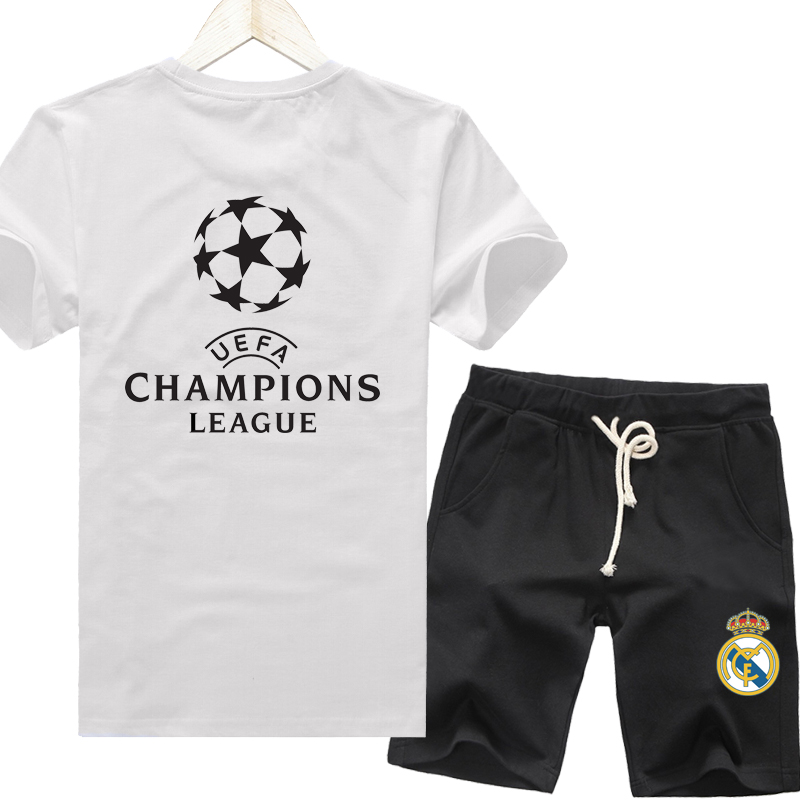 Champions real madrid c laura moss benzema bell football clothes shorts summer sports men short sleeve t-shirt suit