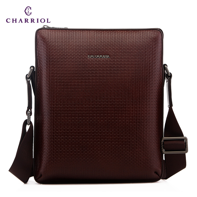 a5b7475b9230 Get Quotations · Charriol luxury designer man bag first layer of leather  shoulder bag business vertical section square leather