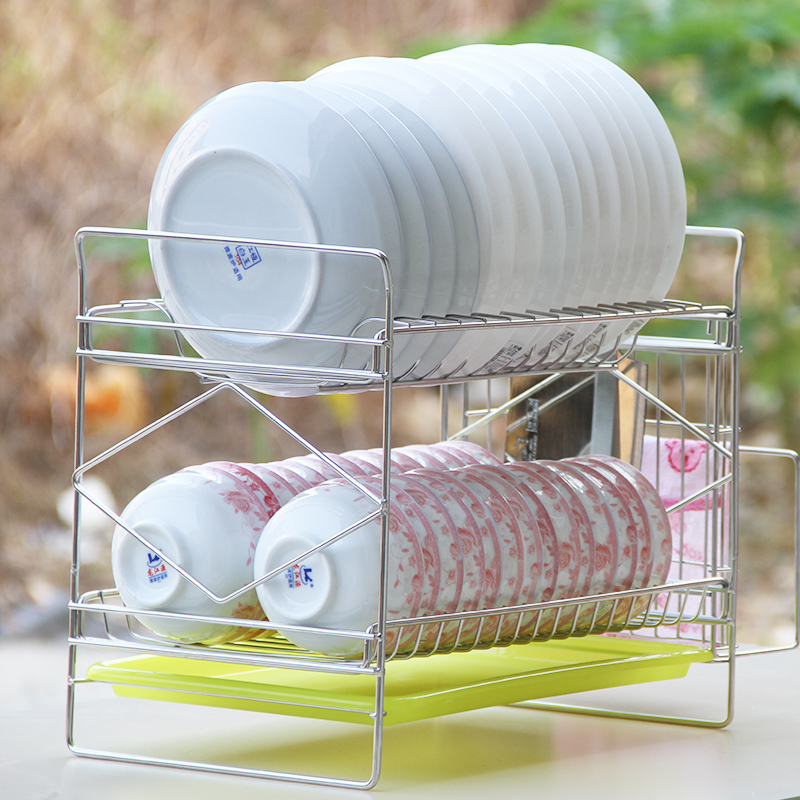Cheap 304 stainless steel double dish rack dish rack drain and put the dish rack dish rack dripping dishes kitchen shelving racks kitchen