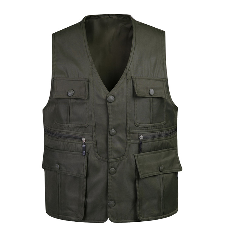 Cheap new middle-aged middle-aged men's autumn army green multi pocket on both sides wear vest back heart large size v-neck vest male