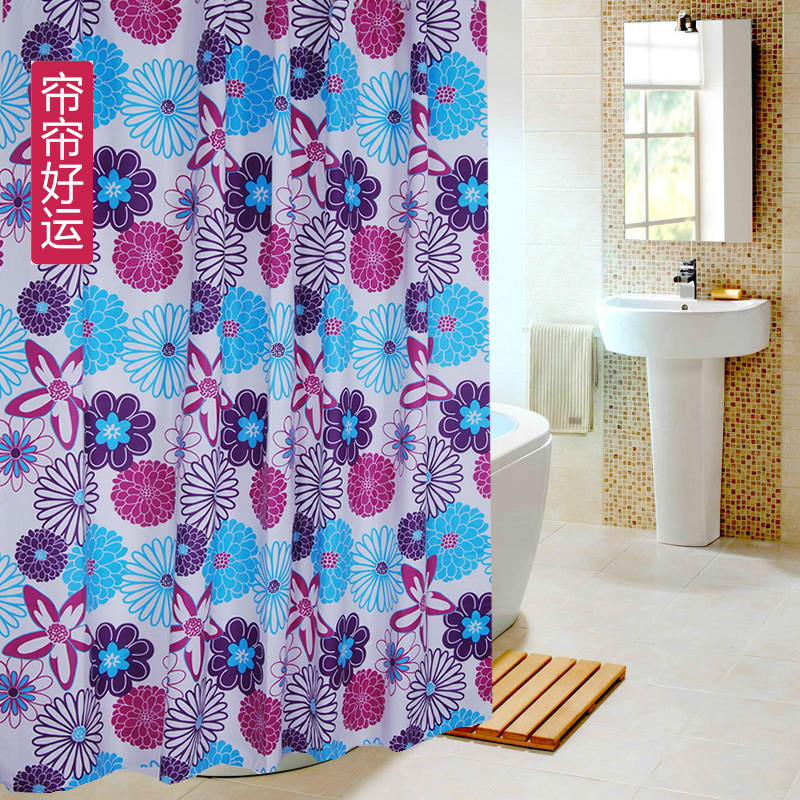 Cheap shipping beautiful flowers thick waterproof mildew peva shower curtain bathroom shower curtain hooks to send with metal grommets